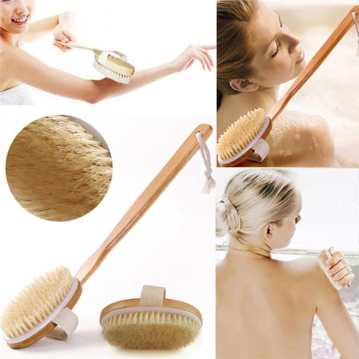 high quality scrubber natural bristle Spa massage body long handle bamboo shower bath brush