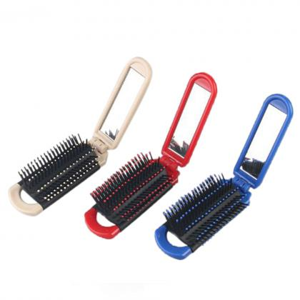 travel hotel comb folding foldable comb hair brush with mirror